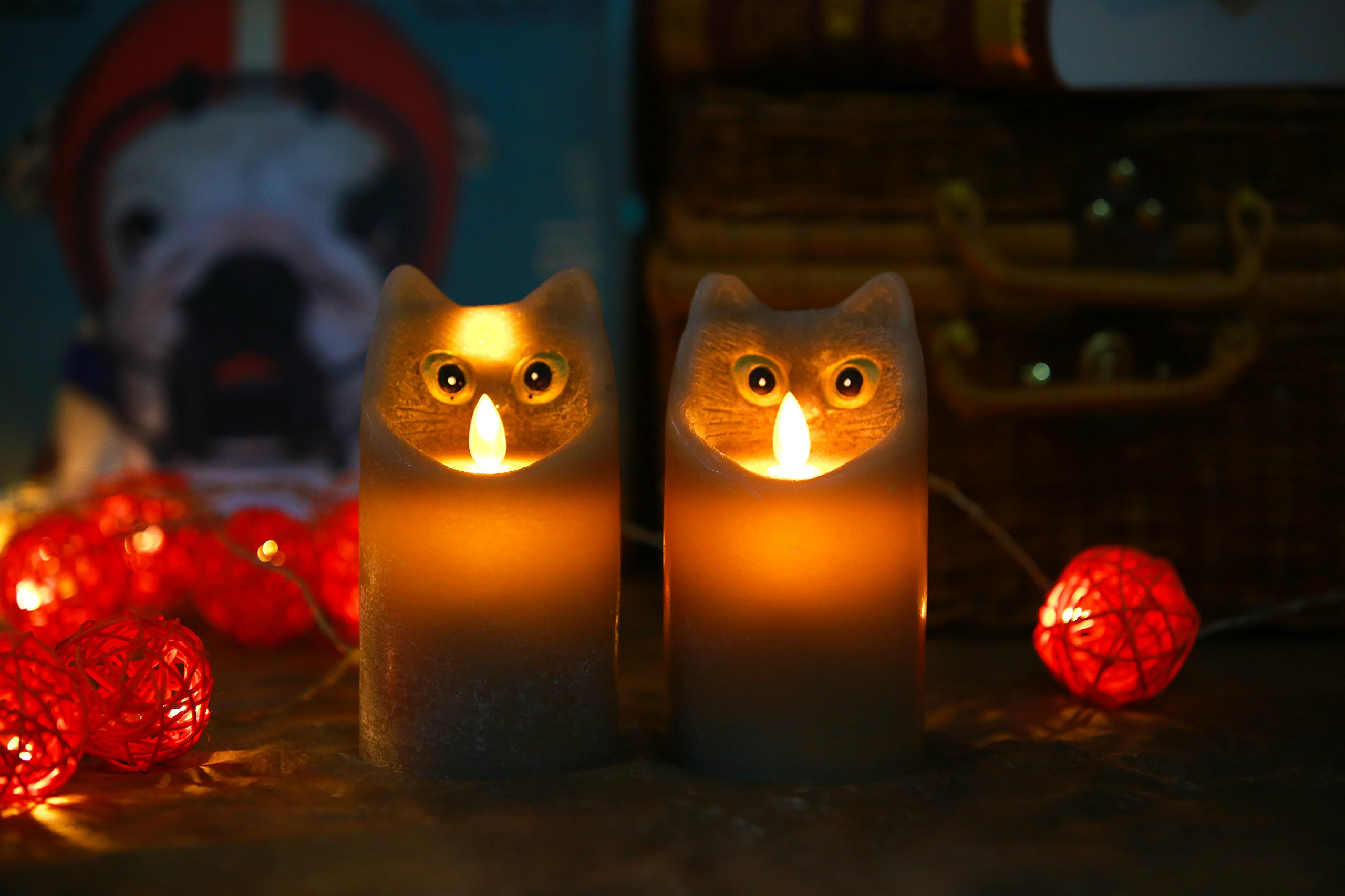 Kitch Aroma Marble Grey Color Cartoon Cat Flameless Candle with Timer For Birthday Gifts,Dia 3'' x H6'',Pack of 2 by Kitch Aroma (Image #4)