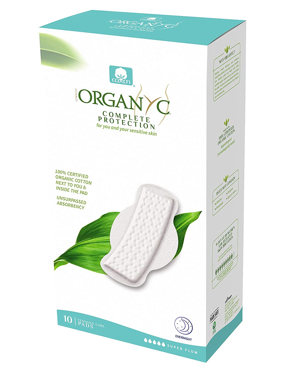 ORGANYC Hypoallergenic 100% Organic Cotton Pads with Wings, Super Flow & Maternity, 10-count Boxes by ORGANYC   B003ART1KK