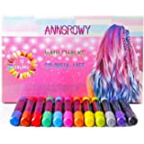 Hair Chalk set anngrowy 12 Colorful Hair Chalk Pens Edge Chalkers Metallic Glitter Temporary Hair Color for Girls Boys Dogs Cats Non-Toxic Washable Hair Dye Colors for Party & Cosplay