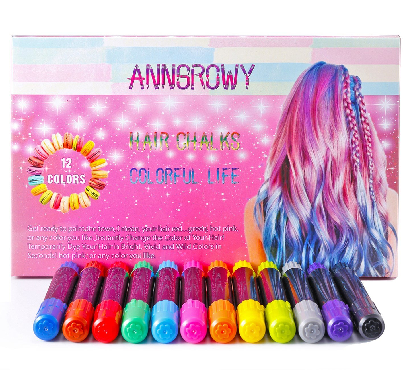 Hair Chalk for Girls Temporary Hair Color 12 Colors Non-Toxic Washable Hair Chalk Pens for Dark Hair and Blonde Brown Auburn Hair Birthday Gifts Present For Girls Hair Dye for Girls