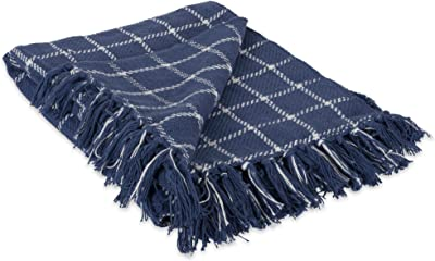 DII 100% Cotton Checked Throw for Indoor/Outdoor Use Camping Bbq's Beaches Everyday Blanket, 50 x 60, French Blue