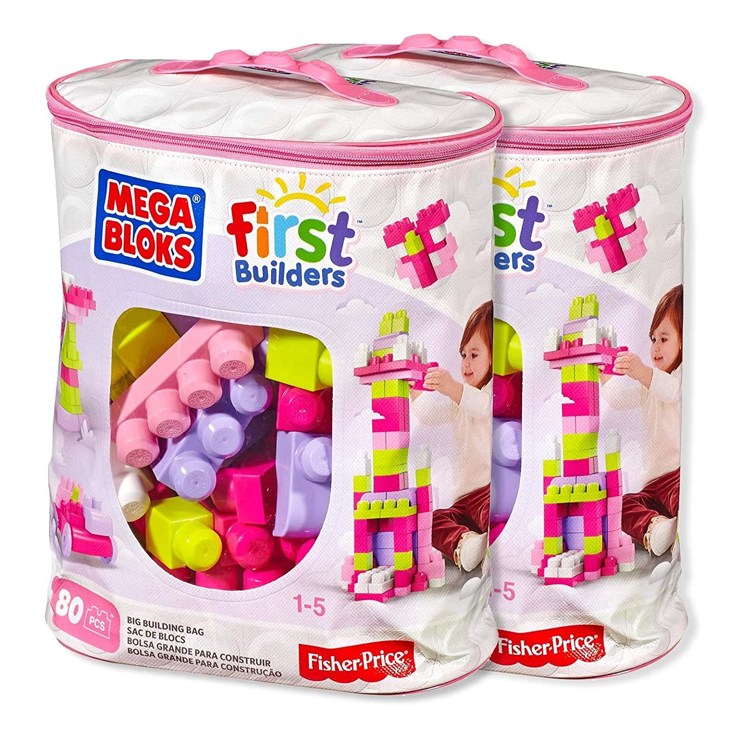 Mega Bloks siBWNM 80 Piece Big Building Bag, Classic, Pink, 2 Units Review