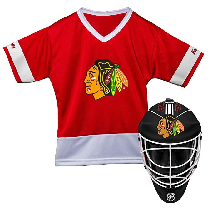 pretty nice 383d5 ac314 Franklin Sports Chicago Blackhawks Kid's Hockey Costume Set - Youth Jersey  & Goalie Mask - Halloween Fan Outfit - NHL Official Licensed Product
