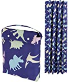 AmazonBasics Portable Kids Travel Window Blackout Curtain Shades with Suction Cups - Multi-Color Dinosaurs