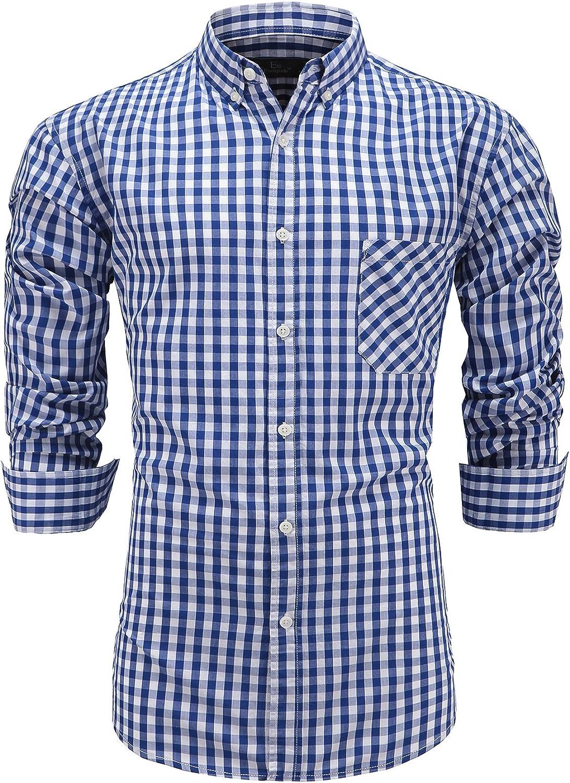 Emiqude - Camisa de vestir de manga larga para hombre, 100% algodón, con botones