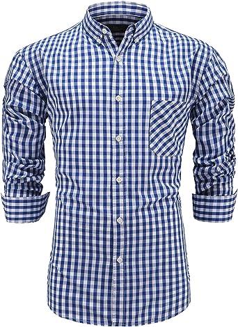 Emiqude - Camisa de vestir de manga larga para hombre, 100% algodón, con botones Azul azul marino XL: Amazon.es: Ropa y accesorios