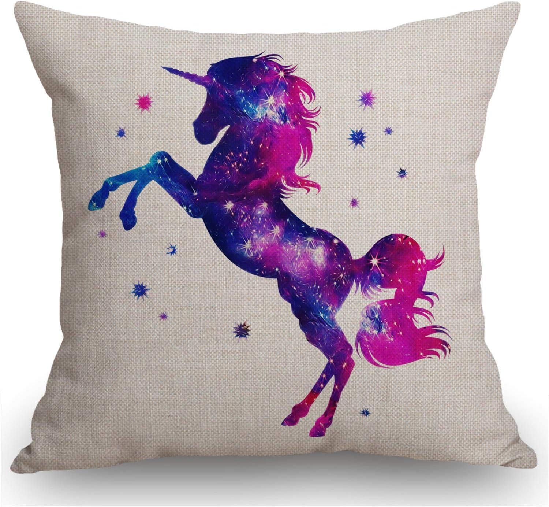 Swono Galaxy Unicorn Decorative Throw Pillow Case Cosmic Unicorn Decoration Cushion Cover Home Decor 18 x 18 Inch Cotton Linen for Sofa Couch