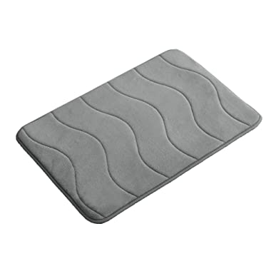 Memory Foam Coral Fleece Non Slip Bathroom Mat, Thick and Durable Bath Rugs 17W X 24L Inches (Gray Waved Pattern)