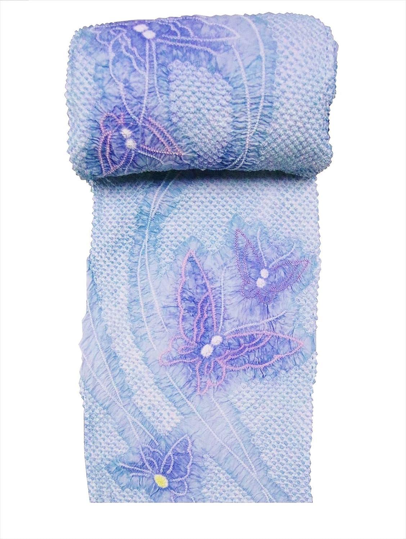 絞り浴衣 反物 No.1004ちょう柄ブルー地 巾出し加工あり  B07SL9N6YF