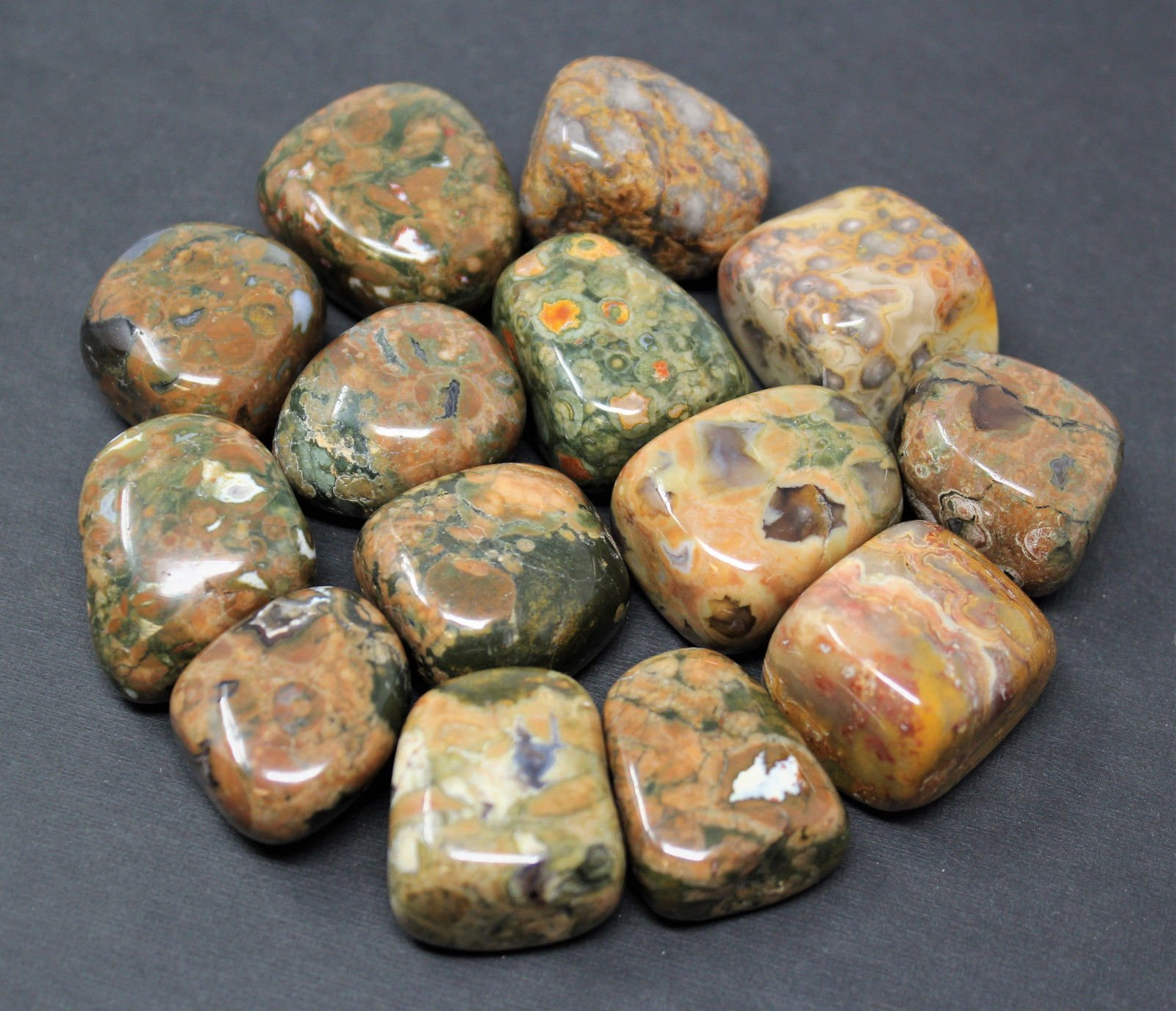 1/2 lb Bulk Bag of Rhyolite Tumbled Stones Crystal Healing Rainforest Jasper