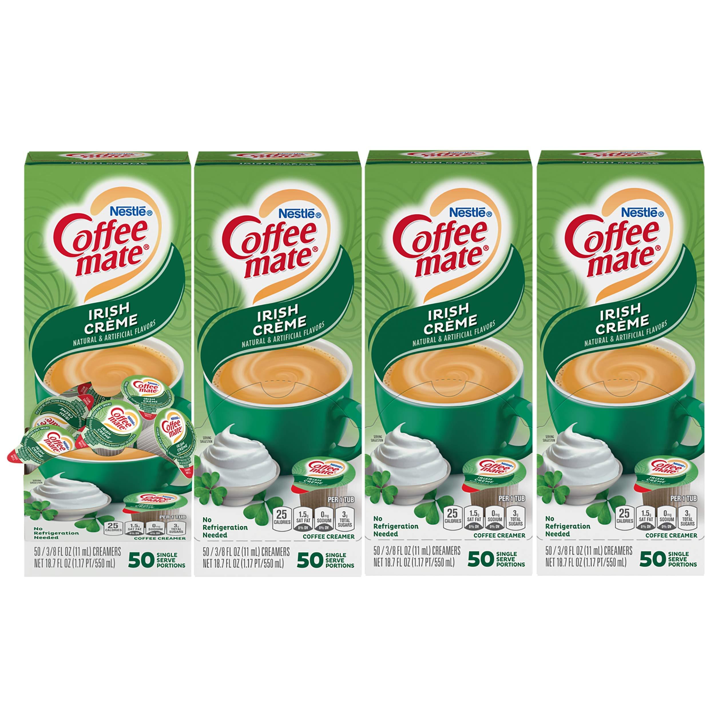 Nestle Coffee mate Coffee Creamer, Irish Creme, Liquid Creamer Singles, Non Dairy, No Refrigeration, Box of 50 Singles (Pack of 4)