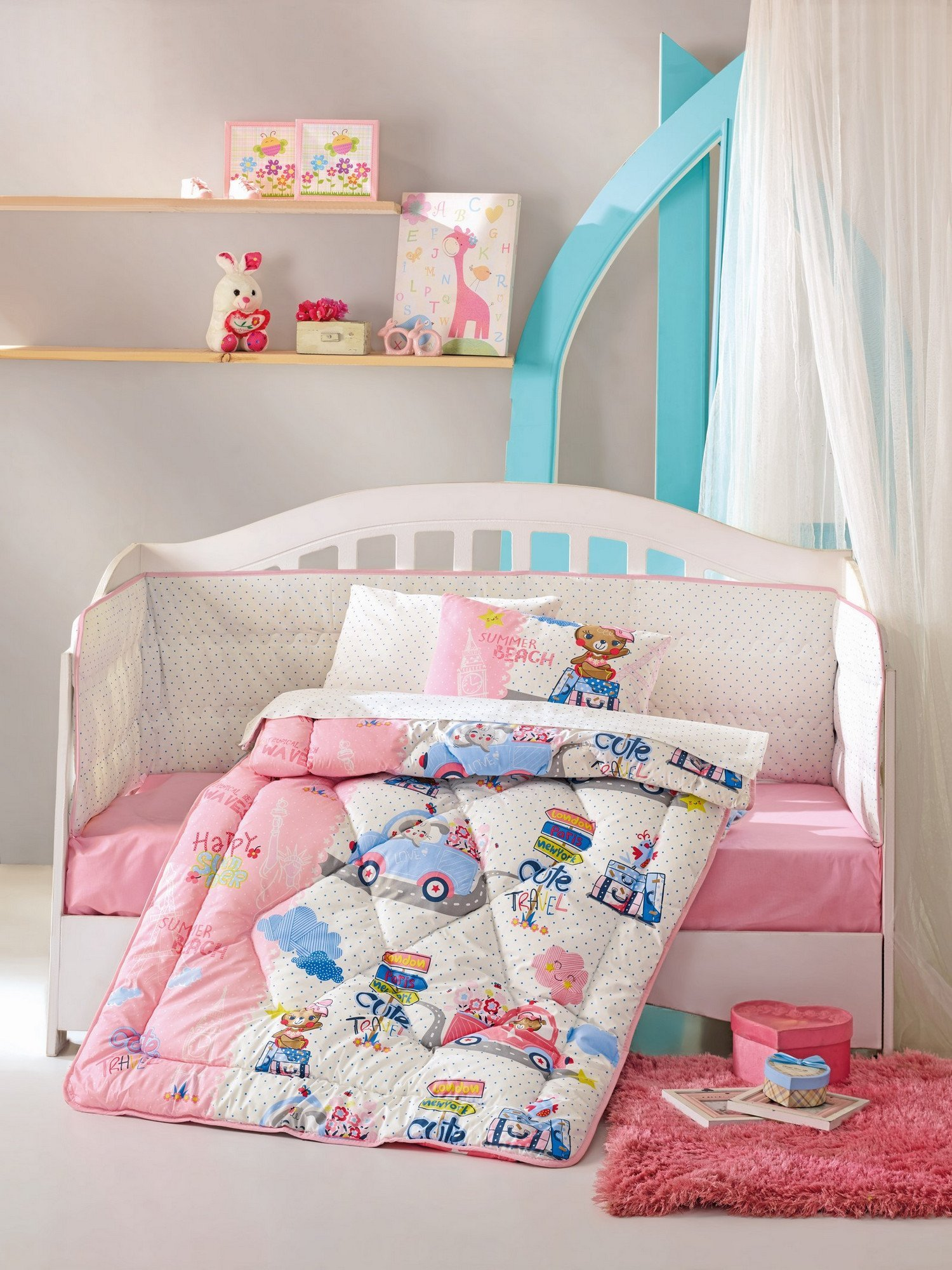 LaModaHome 6 Pcs Luxury Soft Colored Bedroom Bedding 100% Cotton Ranforce Baby Sleep Set Quilt Protector/Soft Relaxing Comfortable Pattern Design Mermaid Sea/Baby Bed Size with Flat Seet