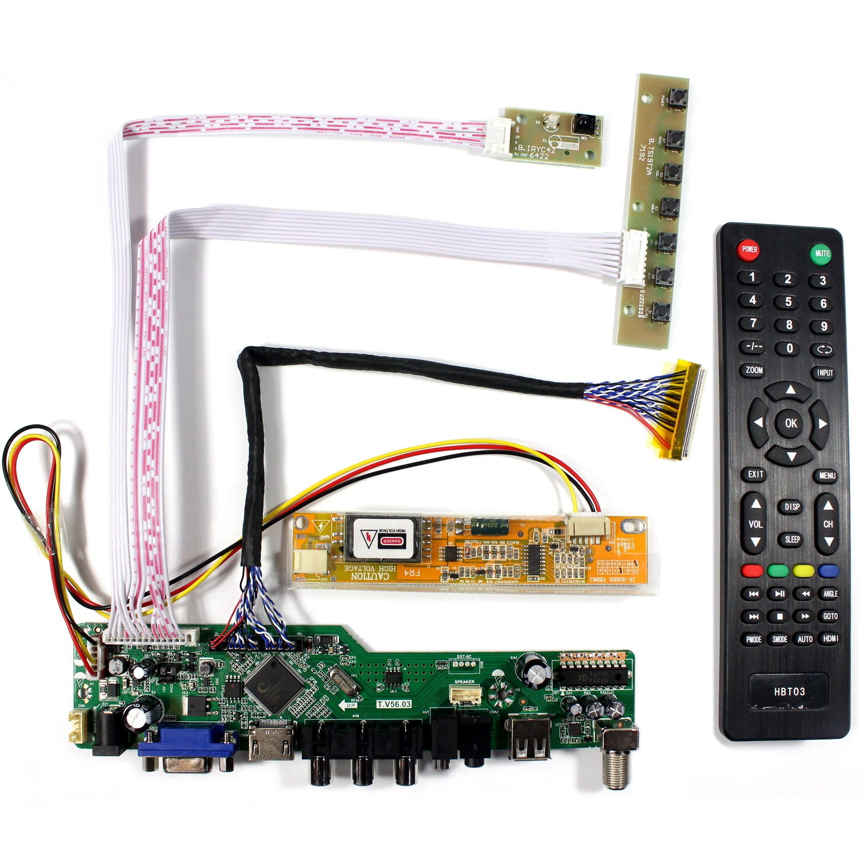VSDISPLAY HDMI+VGA+CVBS+USB+RF+Audio LCD Motor Driver Board Controller Kit Work For 15.4'' 17'' N154C3 B170PW03 B170PW06 1440x900 1CCFL 30Pin LCD Panel