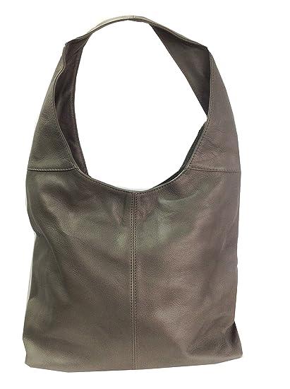 4ed33b231552 KIMANDJO Soft Italian Grey Leather Handbag