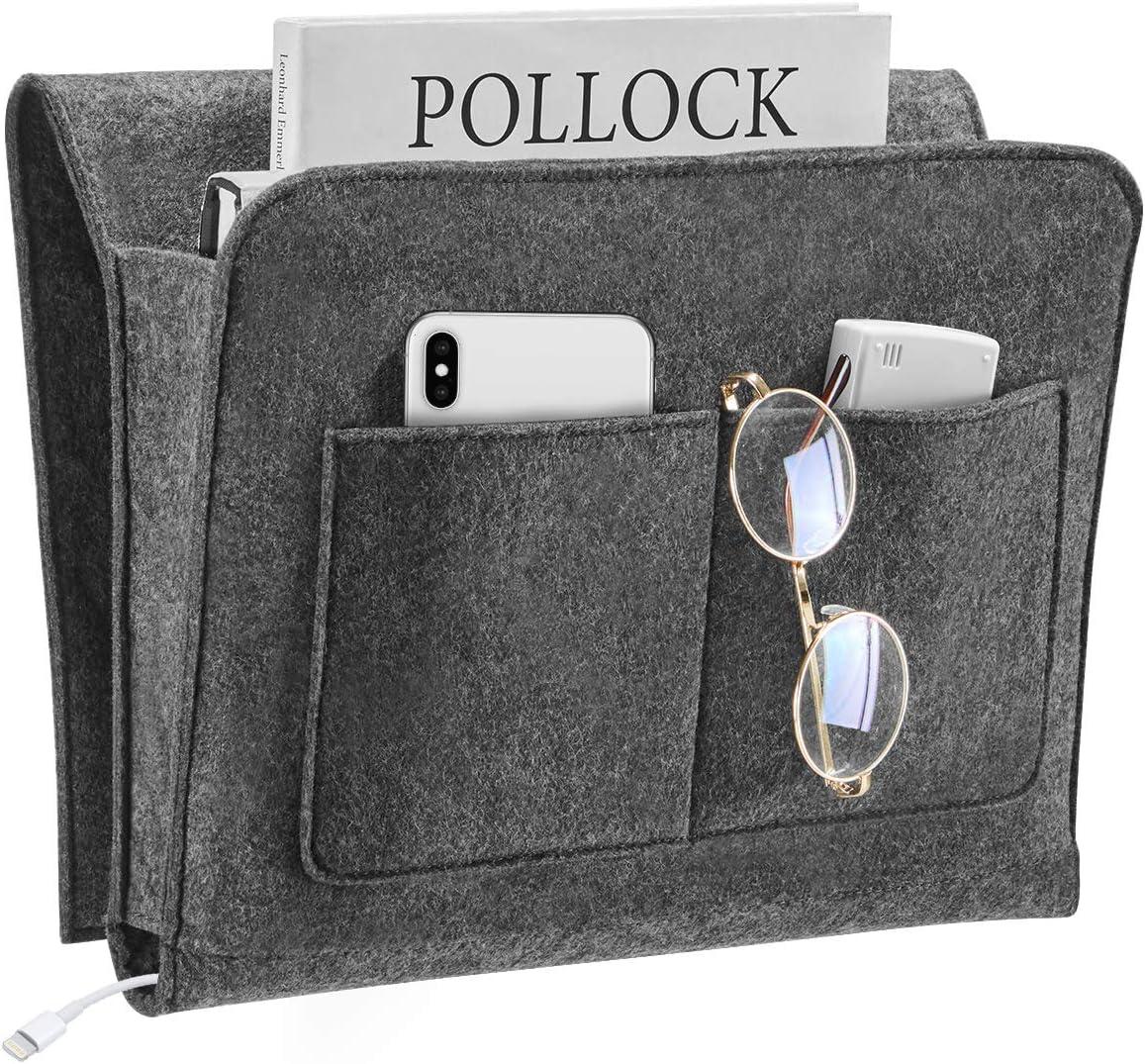 YOUDENOVA Bedside Caddy, 5 Pockets Bed Hanging Storage Organizer Holder for Remote Phone, Magazine, iPad, Snack, College Dorm Bunk Remotes Holder