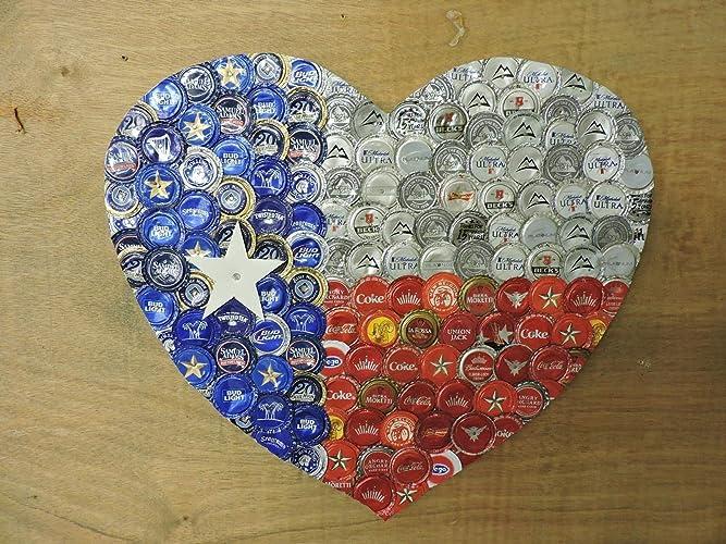 Amazon.com  Bottle Cap Heart Mixed Media Wall Decor creating the ... 1e75abf9c