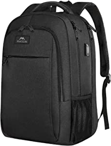 Travel laptop backpack,Business Anti Theft Slim Durable Laptops Backpack with USB charging Port,Water Resistant College School Computer Bag for Women & Men Fits (17 Inch, CHARCOAL BLACK)