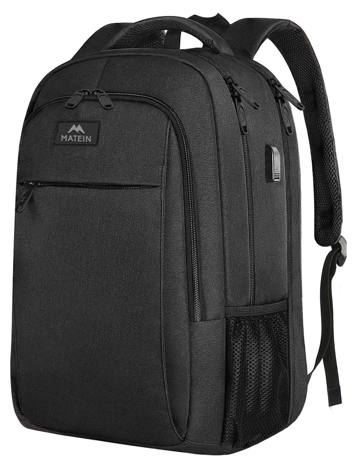 Extra Large Backpack,TSA Friendly College School Bookbags with Laptop Compartment Fit 17Inch Notebook for Boy & Girl,Anti Theft USB Travel Work Rucksack with Luggage Sleeve-Black, Matein by MATEIN