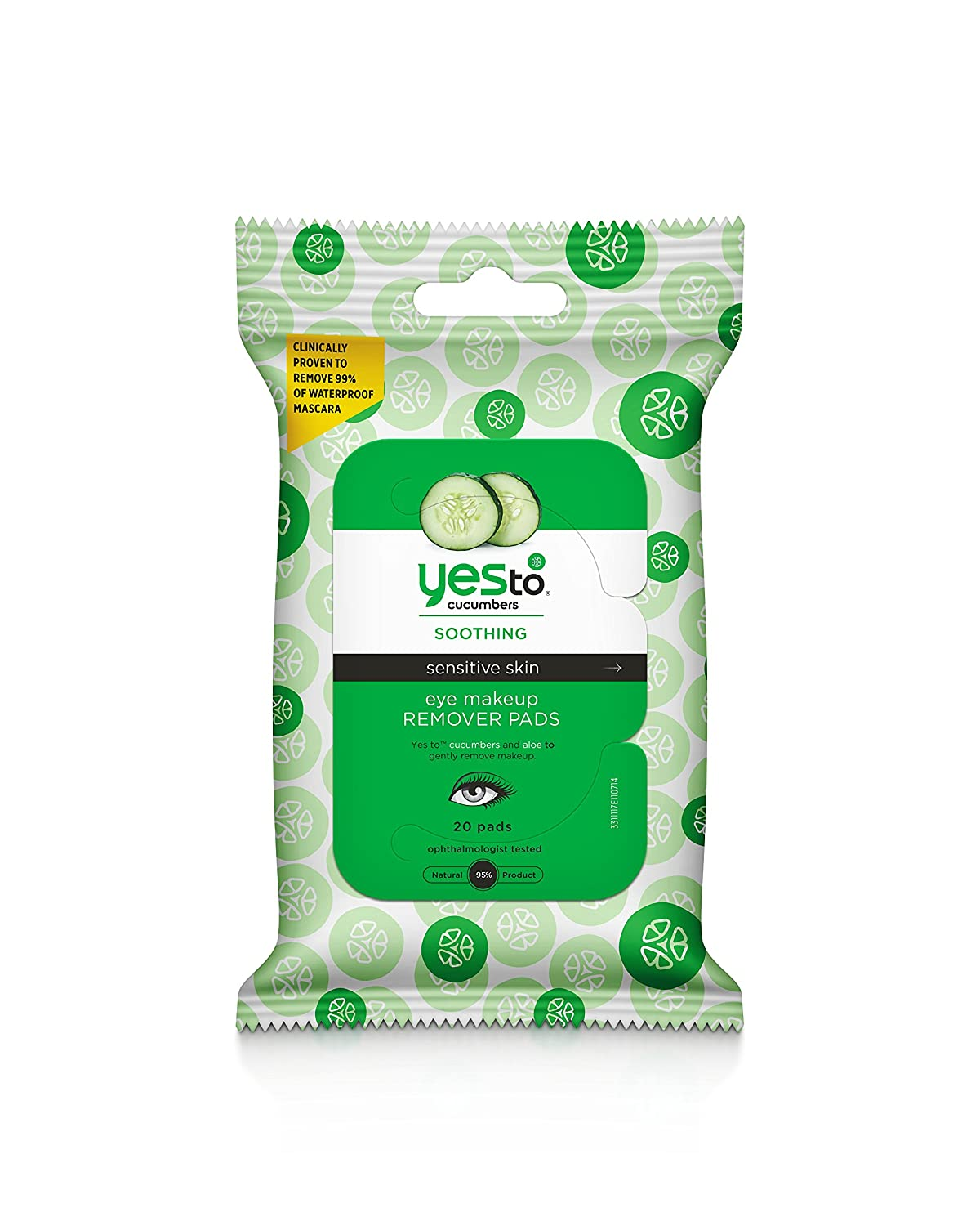 Yes to Cucumbers Eye Makeup Remover Pads, 20 Count