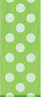 product image for Offray Wired Edge Ringleader Dots Craft Ribbon, 1-1/2-Inch Wide by 10-Yard Spool, Kiwi/White