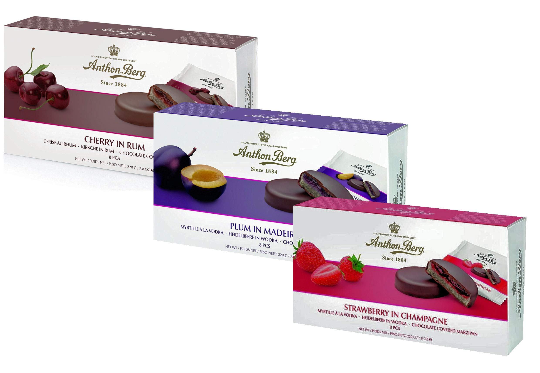 Anthon Berg Variety Gift Box - Plum In Madeira, Cherry & Strawberry Chocolates - by Anthonn