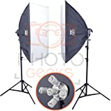 PhotoGeeks / 2 Light / Super 5 Softbox Continuous Photography Lighting Kit / 50 x 70cm Soft Boxes / 10 30w 5500k Bulbs