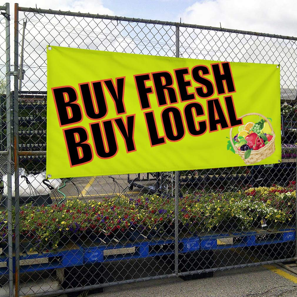 Multiple Sizes Available One Banner 8 Grommets Vinyl Banner Sign Buy Fresh Buy Local #1 Outdoor Marketing Advertising Yellow 44inx110in