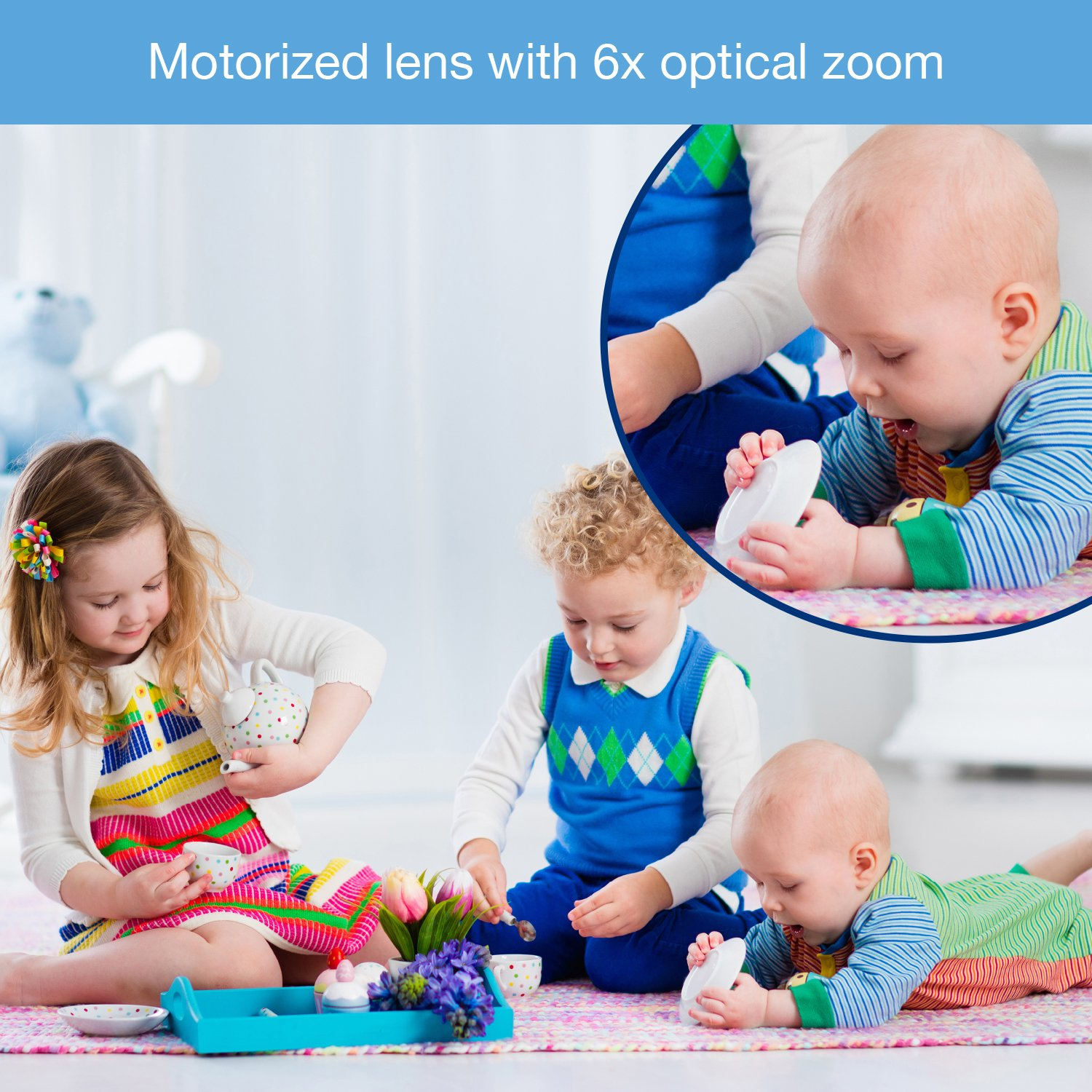 VTech VM5271-2 Video Baby Monitor with 5-inch Screen, Motorized Lens with 6x Optical Zoom, Soothing Sounds & Lullabies, Temperature Sensor & 1,000 feet of Range with 2 Cameras by VTech (Image #5)