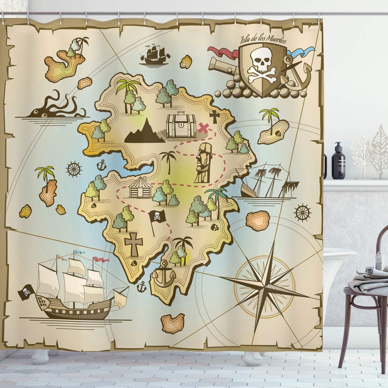 Ambesonne Island Map Shower Curtain, Cartoon Treasure Island Pirate Ship Chest Kraken Octopus Nautical Design, Cloth Fabric Bathroom Decor Set with Hooks, 75