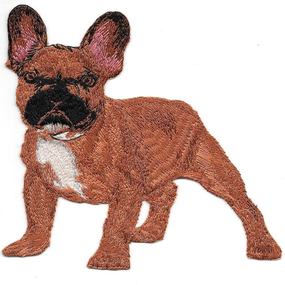 Large 5 1/4'' x 5 3/4'' Red French Bulldog Full Body Dog Breed Embroidery Patch by Nice_Patch