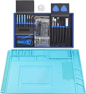 XOOL 80 in 1 Precision Screwdriver Set & Heat Insulation Silicone Repair Mat(17.79''×11.69''), Professional Electronics Repair Tool Kit for Repair Cell Phone, iPhone, iPad, Watch, Tablet, PC, MacBook