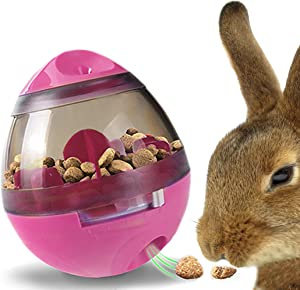 Meric Rabbit IQ Treat Ball, 4 x 4.6-Inches, Interactive Slow Feeder Toy, Food Dispenser for Physical and Mental Encouragement, Improves Digestion, Stronger Pet-Parent Relationship, Pink Color