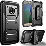 Moto G5 Plus Case, KASEMI [Built in Screen Protector] Heavy Duty Dual Layer Protection Locking Belt Swivel Clip Holster with Kickstand for Motorola Moto G5 Plus((5.2 inch)-Black