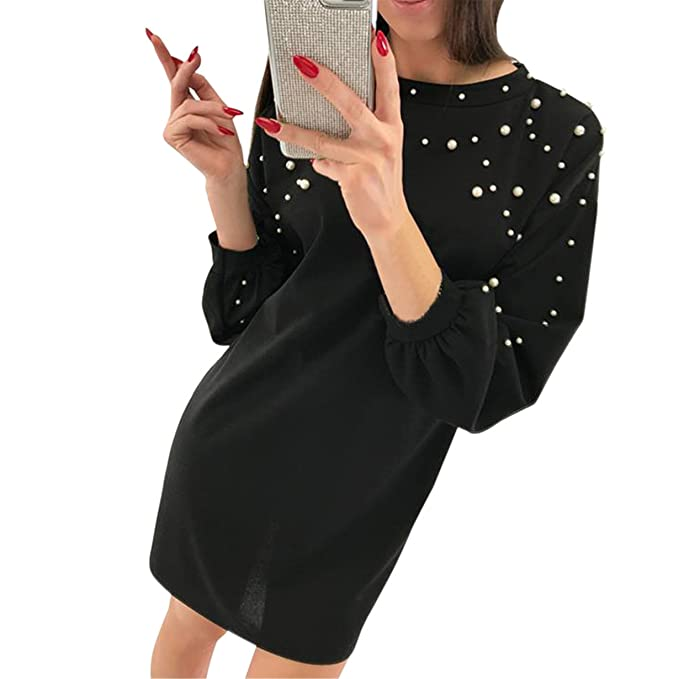 Ropa 2018, Longra ☆ Vestido de Manga larga de O-cuello de Decoración de abalorios suelto para Mujer T-shirt Vestido Camiseta: Amazon.es: Ropa y accesorios