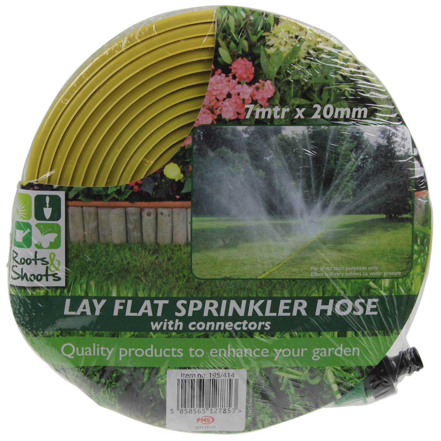 7m x 20mm Lay Flat Sprinkler Hose With Connectors Roots & Shoots