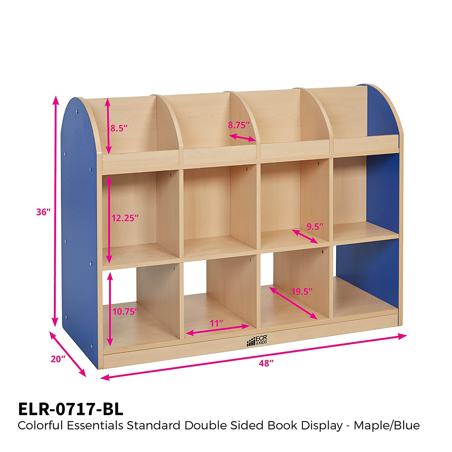 essentials double scientific and industrial maple dp colorful book sided blue amazon display bookcase com cabinet storage standard