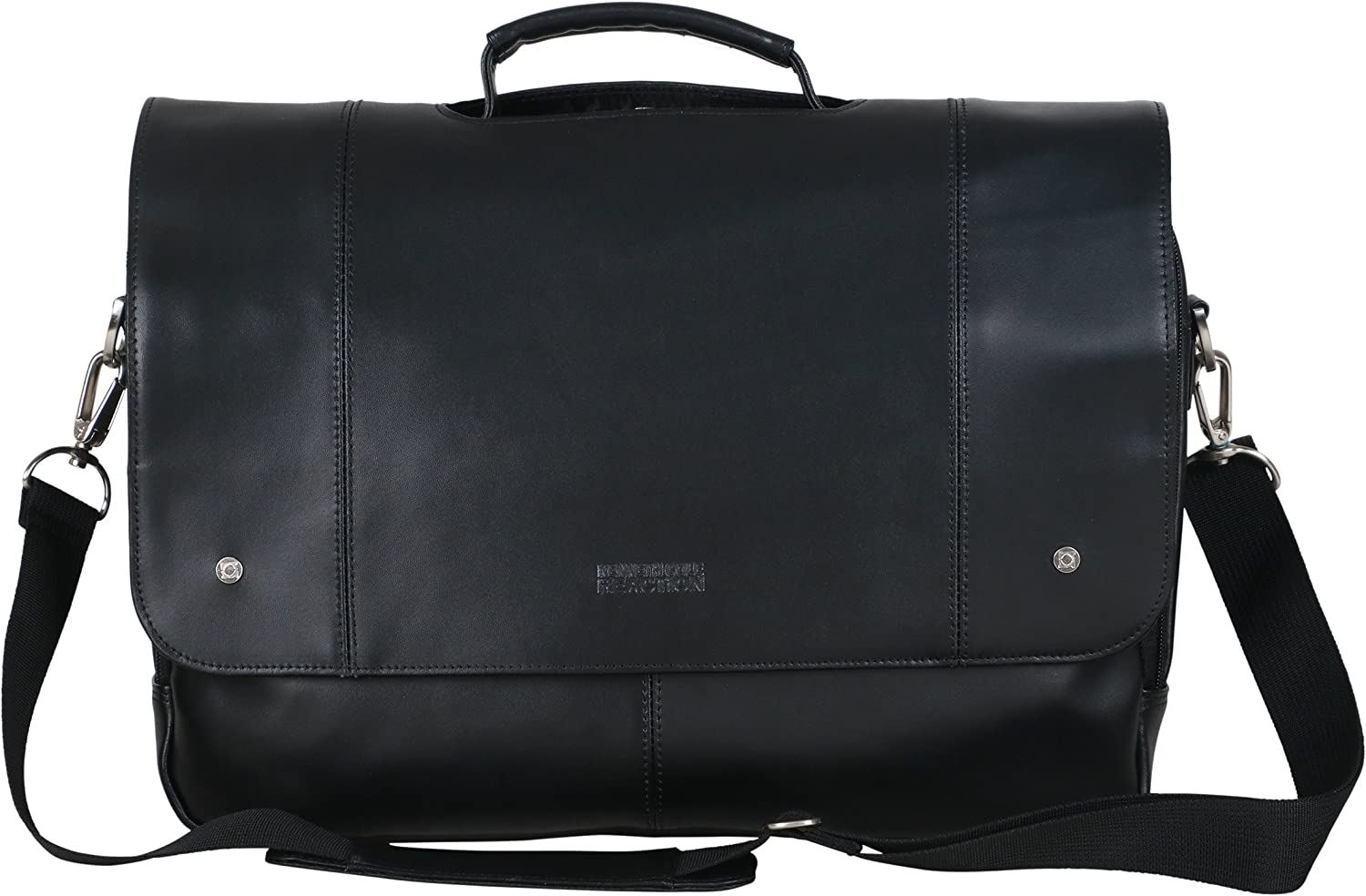 "Kenneth Cole Reaction Leather Flapover 16.0"" Computer Business Crossbody Portfolio Laptop Briefcase, Black, One Size"