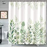 AMM Green and White Shower Curtain, Fabric Shower Curtains for Bathroom, Plant Leaves Shower Curtain Sets with 12 Hooks 72''×