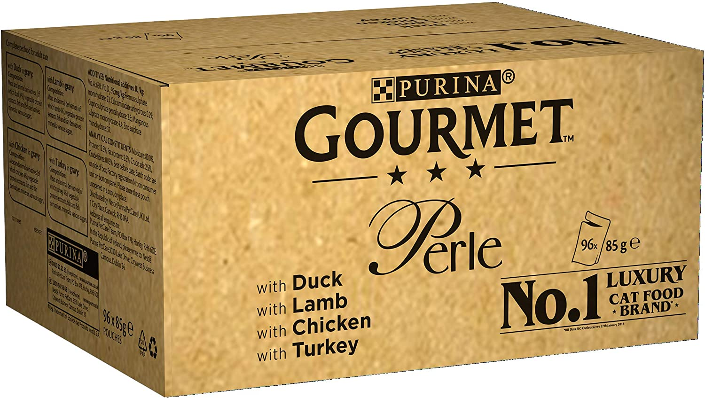 Purina Gourmet Perle húmedo Cat Food, Mini Filetes en salsa, Chef's Collection, paquete de 96 bolsas