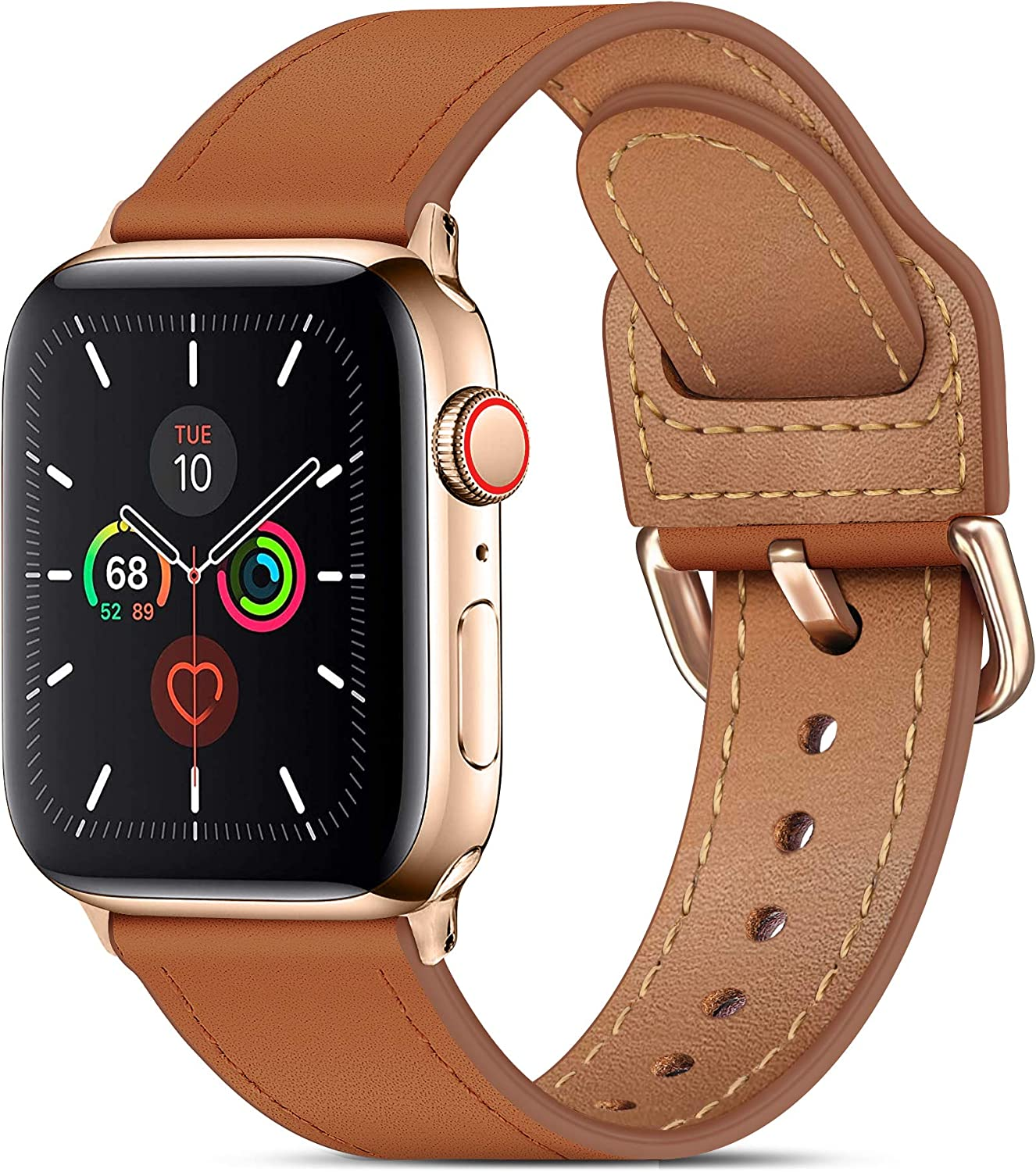 MARGE PLUS Compatible with Apple Watch Band 40mm 38mm 44mm 42mm, Genuine Leather Strap Replacement for iWatch SE Series 6 5 4 3 2 1, (Brown/Rose Gold)