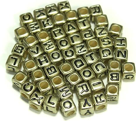 500Pcs 7mm Gold Alphabet//Letter Acrylic Spacer Beads Single Letter A-Z Random