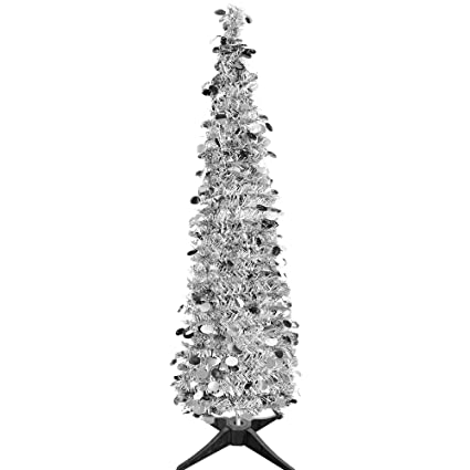 Collapsible Christmas Trees Tinsel Artificial Tree Stand 5 Foot Tall Home Decoration Sliver