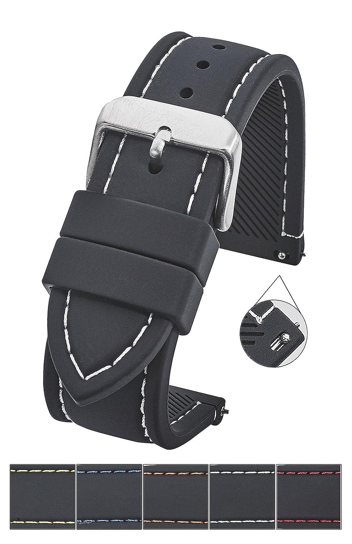 スムース&スポーティなシリコンステッチWatch Band withクイックリリースばねbars-ブラック/ホワイト、ブラック/レッド、ブラック/ブルー、ブラック/イエロー、ブラック/オレンジサイズ18 mm、20 mmで、22 mm & 24 mm 24MM ブラック-ホワイト 24MM|ブラック-ホワイト ブラック-ホワイト 24MM B07915TXVX