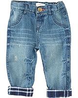 Mud Pie Boys Play Jeans w/ Blue Flannel Plaid Rollup Cuff