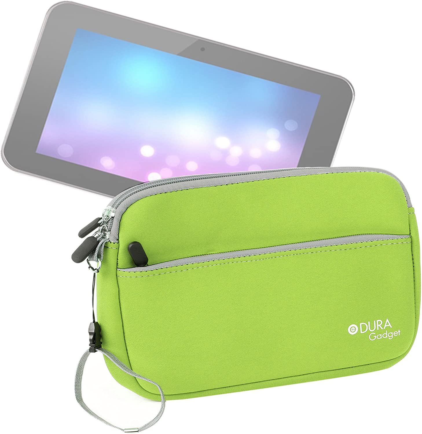 DURAGADGET Neoprene Green Cover with Front Storage Pocket - Compatible with Dell Venue 8 /TabletExpress Allwinner A20 & DMG T909 Tablets