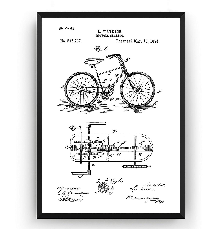 Engranajes de Bicicleta 1894 Poster de Patente - Patent Póster Con Diseños Patentes Decoracion de Hogar Inventos Carteles Prints Wall Art Posters Regalos Decor Blueprint - Marco No Incluido: Amazon.es: Handmade