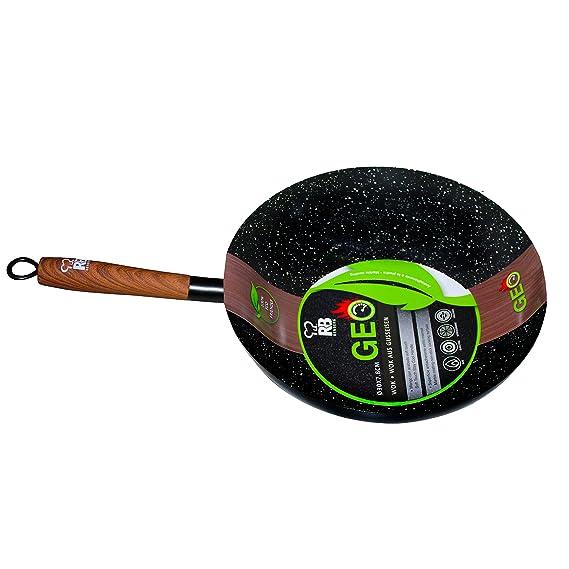 Sartén wok antiadherente, de acero al carbono, revestimiento ...