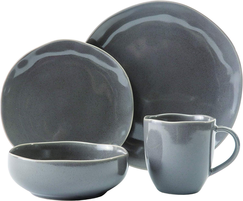 Amazon Com Scott Living Modern Classic 16 Piece Dinnerware Set Service For 4 Gray Dinnerware Sets