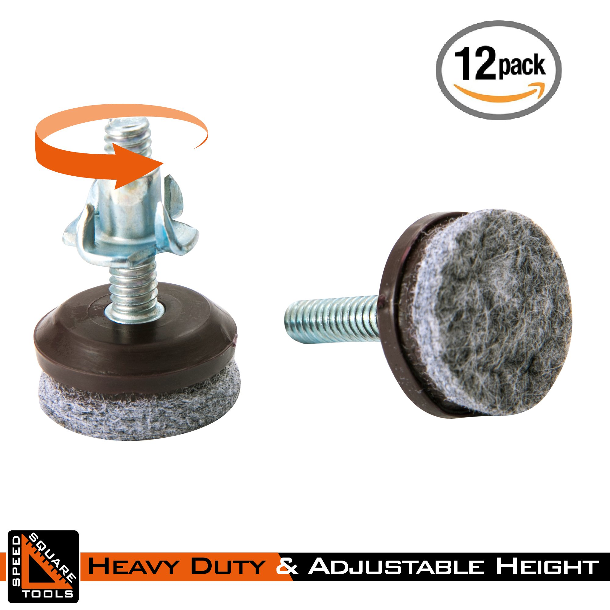 Furniture Levelers | Heavy Duty & Integrated High-Density Felt | Fully Threaded Adjustable Height 0.5'' to 1.25'' | Great Glide Pads for Home, Office, DIY, Restaurant, Café | 12 Pack by SpeedSquare Tools (Image #5)