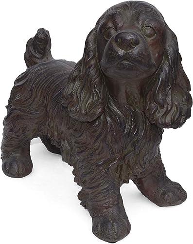 Christopher Knight Home 309256 Messiah Outdoor Cocker Spaniel Dog Garden Statue